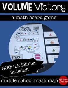 Jul 27, 2020 - Volume Victory is a board game that helps students practice finding the volume of rectangular prisms, triangular prisms, pyramids, cylinders, and cones. This resource includes a printed and digital version. Students must find the volume of different figures to help them move around the game board. L... School Resources, Math Resources, Math Activities, Math Boards, Math Board Games, 6th Grade Math Games, Middle School Grades, Math Groups, Secondary Math
