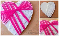 foam board yarn hearts....great for preschoolers