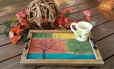 Fall Wood Serving Tray Distressed table by TheWhiteBirchStudio