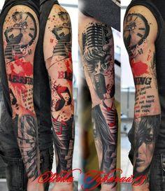 Amazing Music Sleeve Tattoo - http://99tattooideas.com/amazing-music-sleeve-tattoo/ #tattoo #tattoos #ink