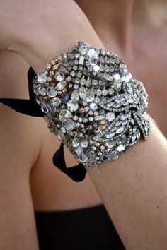 Gorgeous Tie On Cuff...great way to upcycle all that old rhinestone jewelry your mom used to wear!