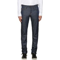 Naked and Famous Denim Indigo Super Skinny Guy Selvedge Jeans ($125) ❤ liked on Polyvore featuring men's fashion, men's clothing, men's jeans, indigo, mens skinny fit jeans, mens slim jeans, mens patched jeans, mens super skinny jeans and mens slim fit jeans
