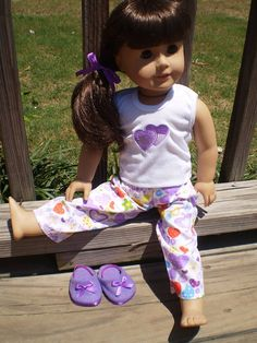 Purple heart pajama set with house shoes by sassydollcreations, $14.99