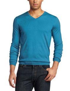 Calvin Klein Sportswear Men's Slim Fit Silk Cotton V-Neck Sweater, Mosaic Blue, X-Large