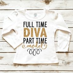Full Time Diva Toddler Sparkle Shirt in Gold Glitter Bling and Black