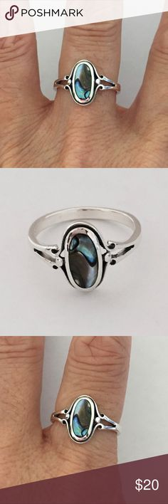 Sterling Silver Oval Abalone Ring Sterling Silver Oval Abalone Ring, Pinky  Ring, Index Ring 0a41dd6b4401