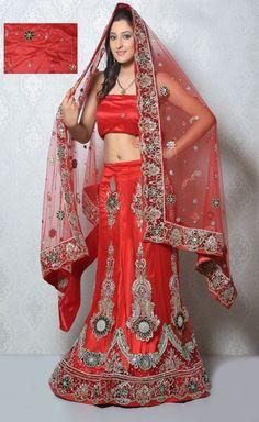 USD 318.71 Red Net Gold Zardosi Bridal Lehenga Choli   32934
