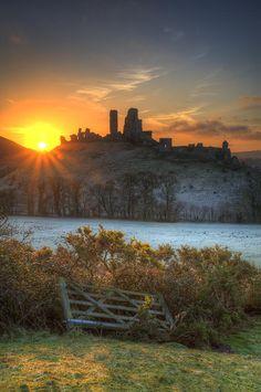 Corfe Castle Dorset Winter Sunrise
