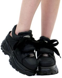 Black sling back chunky sneakers at shopjeen.com