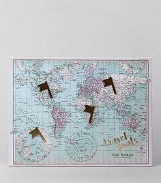 Pale Blue World Map Canvas