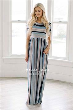 Gray Pink Stripe Pocket Maxi Dress, Modest Dress, Bridesmaids Dress, Church Dresses, dresses for church, modest bridesmaids dresses, best modest boutique, modest womens clothing, affordable modest dresses, cute modest clothes