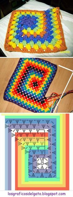 ideas for knitting projects blanket granny squares crochet patterns ide. ideas for knitting projects blanket granny squares crochet patterns ide… ideas for Point Granny Au Crochet, Granny Square Crochet Pattern, Crochet Blocks, Crochet Diagram, Crochet Chart, Crochet Squares, Crochet Blanket Patterns, Crochet Motif, Crochet Stitches