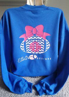 Monogrammed Football Sweatshirt by ElleQDesigns on Etsy