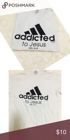 Super Cute Addicted To Jesus Shirt ✨Excellent Condition ✨Smoke Free Home ✨No trades ✨REFER TO FAQ's Listing✅   Seller Discount; Bundle & Save❤️  Thank you!! Tops