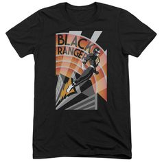 Power Rangers Black Ranger Deco Adult Tri-Blend T-Shirt