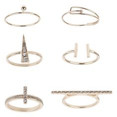 TOPSHOP Fine Ring Multipack found on Polyvore featuring jewelry, rings, accessories, clear, clear rings, topshop, clear jewelry, clear crystal ring and topshop jewelry