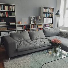 Regal HINTER dem Sofa! --> Mehr Stellfläche :-)