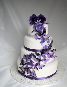 purple butterfly wedding cake