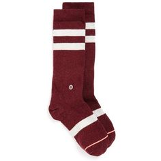 Stance'Coyote' CrewSocks (170 MXN) ❤ liked on Polyvore featuring intimates, hosiery, socks, maroon, stance socks, maroon socks, crew socks, seamless socks and maroon crew socks