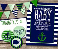 Items similar to Nautical Baby Shower Suite on Etsy Cute baby boy nautical theme invites & accessories. Since hubby's in the navy, this would be perfect for when we have kids 😀 Pink and grey for a girl Baby Shower Deco, Baby Shower Themes, Baby Boy Shower, Shower Ideas, Cute Baby Boy, Baby Love, Baby Kids, Nautical Baby, Nautical Theme