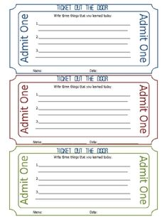 This is a great template for teachers to use for a ticket out the door each day.