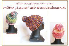"""""""Mütze Laura"""" mit Korallenbommel, Häkeln +Knooking"""