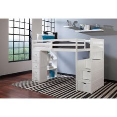 Canwood Mountaineer Twin Loft Bed with Storage Tower and Built in Stairs Drawers, White - Walmart.com