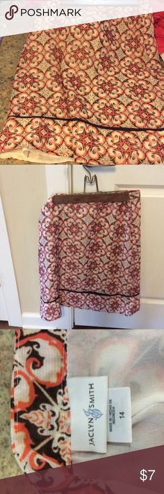 Ladies cute skirt Ladies cute multi color skirt. Lined and comfortable. Very chic. Jaclyn Smith Skirts Midi
