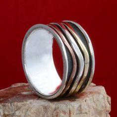 925 SOLID STERLING SILVER THREE TONE SPINNER RING 6.87g DJR10669 SZ-7.5 #Handmade #Ring