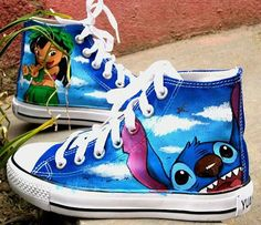 Stitch anime Lilo Stitch shoes custom converse shoes Lilo amp Stitch Hand Painted Converse Shoes Custom Stitch anime Converse version Notice All Size Available because the Artfire no size optional Custom Converse Shoes, Converse Sneakers, Custom Shoes, Converse Design, Cheap Converse, Ladies Sneakers, Blue Converse, Green Sneakers, Converse Style