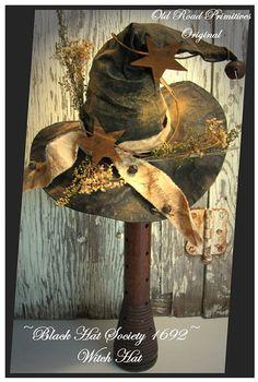 Primitive Black Hat Society Witch Hat Make-do Halloween e Pattern