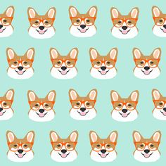 © Pet Friendly - Sweet pet corgi fabric.  Best corgi wearing glasses fabric print for trendy decor and home textiles.  Corgi owners will love this cute corgi in glasses fabric.