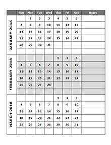 2018 quarterly calendar template