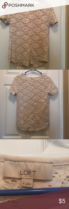 LOFT short sleeve shirt LOFT short sleeve shirt with burnt out detail. Looks great with a black or ivory tank underneath. Like new. Smoke-free home. LOFT Tops Tees - Short Sleeve