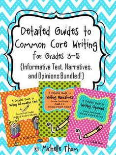 This product is a bundle of detailed guides to Common Core writing that cover narrative writing, informative writing, and opinion writing suitable for grades 3-5. These writing units will help you teach the major Common Core writing standards over the course of the entire year!  $