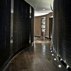 Modern Locker Room Design | Dark, Wood Plank Look | The Ritz‐Carlton Spa by ESPA | Hong Kong, Japan