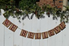 Items similar to Believe Banner . We Believe banner . Photo prop on Etsy Etsy Christmas, Christmas Deco, Christmas Crafts, Glitter Cards, Red Glitter, First Birthday Banners, Jute Twine, Photo Props, Photo Shoot