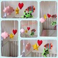 Baby underwater animals mobile Underwater Animals, Wall Banner, Nursery, Fabric, Baby, Handmade, Color, Tejido, Colour