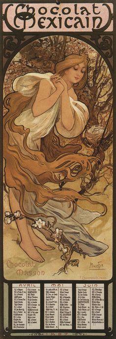 1896 'Chocolat Masson' calendar April - June © Alphonse Mucha Estate-Artists Rights Society (ARS), New York-ADAGP, Paris