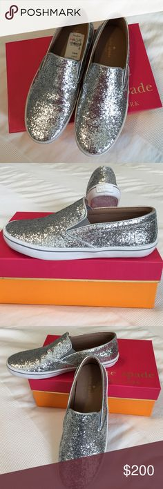 Kate Spade Silver Glitter Sneakers Brand New! Just tried on at Neiman Marcus Last Call! Beautiful and comfortable shoe! Price is definitely negotiable kate spade Shoes