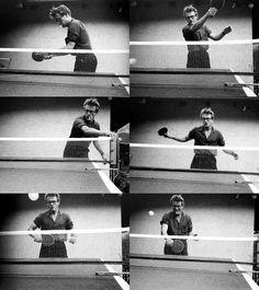 James Dean playing ping pong, 1955