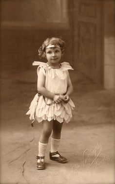 1920s Original Vintage French Real Photo Postcard RPPC Fancy Carnival Studio Portrait of Little Girl in Fairy Costume by P.Noyrigat of Rodez