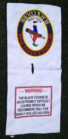 Bethpage Black Golf Waffle Towel Micro Towel with Bethpage Logo and Warning Sign #Unbranded