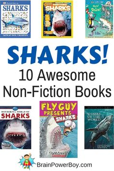 10 awesome non-fiction shark books to give your shark lovers all the info they could need about sharks. Selections for all ages.