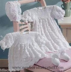 There's a new family member on the way! Celebrate the little one's arrival by creating a special crochet layette from Christening Sets. You want the best for Baby, so why not crochet one of these two classic christening sets designed by Kay Meadors? Crochet Baby Dress Pattern, Crochet Baby Clothes, Crochet Patterns, Crochet Dresses, Gown Pattern, Crochet Christening Patterns, Crochet Designs, 2 Baby, Baby Kind