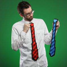 This stylish 8-bit tie looks like what Mario would of worn to his high-school graduation. A pixelated design and jaggy edge completes the 8-Bit look with a clip-on format that makes it easy to wear with any shirt or t-shirt. #8bit #nintendo #tie