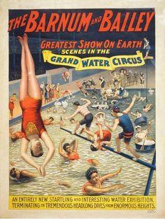 Grand Water Circus #vintage #circus #poster Barnum & Bailey