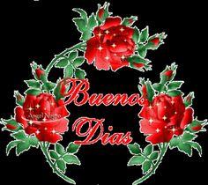 Ver Imagen de una corona de rosas rojas muy lindas con brillo y movimiento junto a la frase: Buenos Días