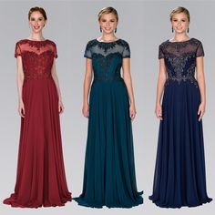 Affordable embroidered Illusion neckline Chiffon mother of the bride gown Bridesmaid Dresses, Prom Dresses, Formal Dresses, Wedding Dresses, Crochet Bodycon Dresses, Mother Of The Bride Gown, Bride Gowns, Mothers Dresses, Illusion Neckline