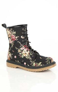 Lace Up Floral Print Combat Boot